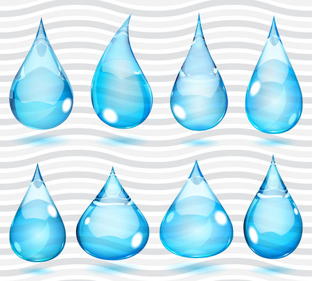 Set of transparent drops in saturated light blue colors