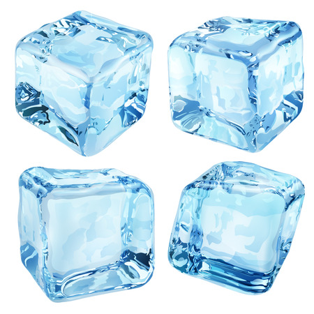 ice: Set of four opaque ice cubes in blue colors