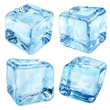 cubetti di ghiaccio: Un insieme di quattro cubetti di ghiaccio opaco nei colori blu