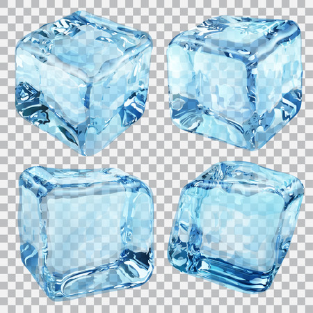 ice: Set of four transparent ice cubes in blue colors Illustration