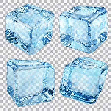 Set van vier transparante ijsblokjes in blauwe kleuren