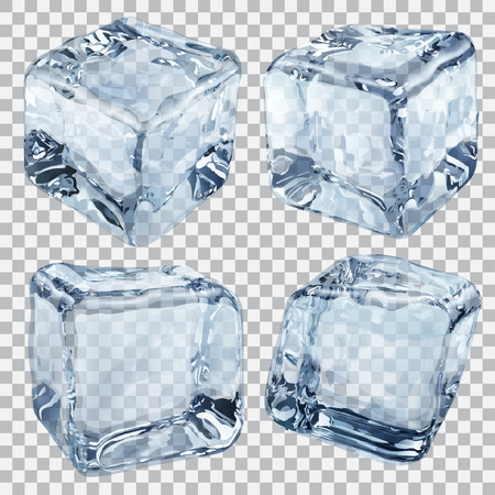 isolated: Set of four transparent ice cubes in light blue colors