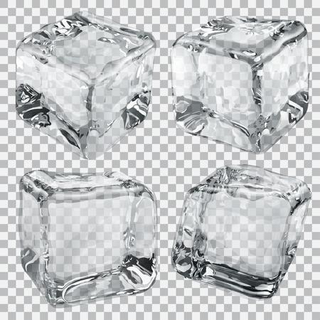objetos cuadrados: Conjunto de cuatro cubos de hielo transparentes en colores grises
