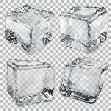 ice: Set of four transparent ice cubes in gray colors Illustration