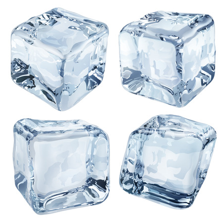 Set of four opaque ice cubes in light blue colors