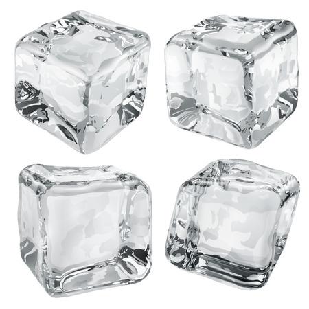 refrigerate: Conjunto de cuatro cubitos de hielo opacas en colores grises Vectores