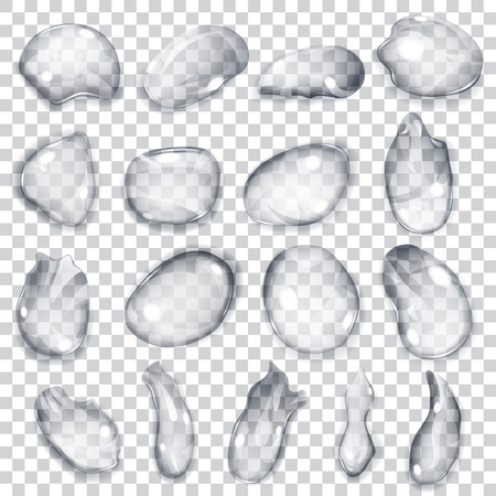 lagrimas: Conjunto de gotas transparentes de diferentes formas en colores grises