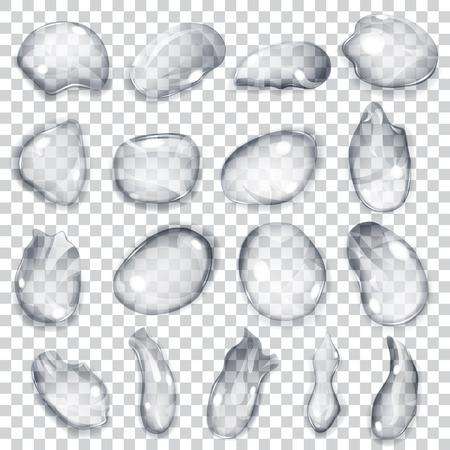 lacrime: Set di gocce trasparenti di forme diverse nei colori grigi