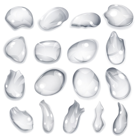 different shapes: Set of opaque drops of different shapes in gray colors