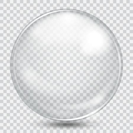 Big white transparent glass sphere with glares and shadow