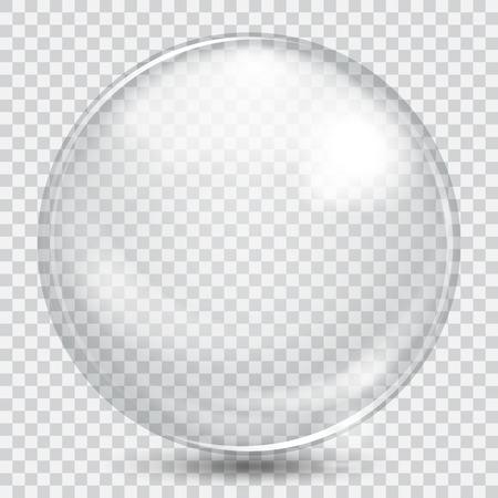 Grote witte transparante glazen bol met glans en schaduw Stock Illustratie