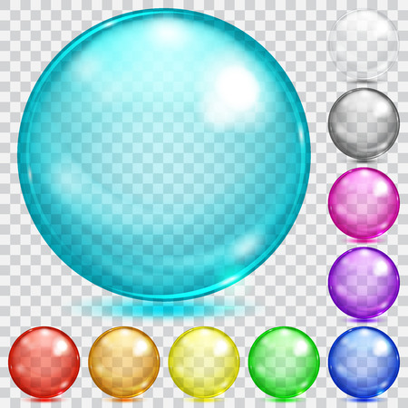 Set of transparent glass spheres of various colors with glares and shadows