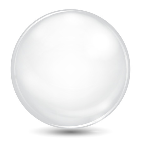 Big white opaque sphere with glares and shadow Vettoriali