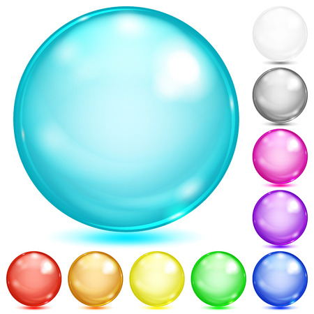 Set of opaque spheres of various colors with glares and shadows