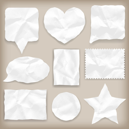 white textured paper: Labels or symbols of white crumpled paper of various shapes