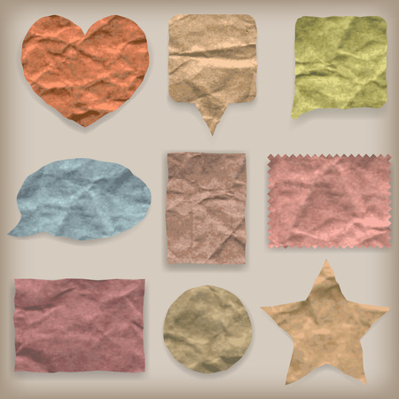 Labels or symbols of colored crumpled paper of various shapes in vintage style Vector