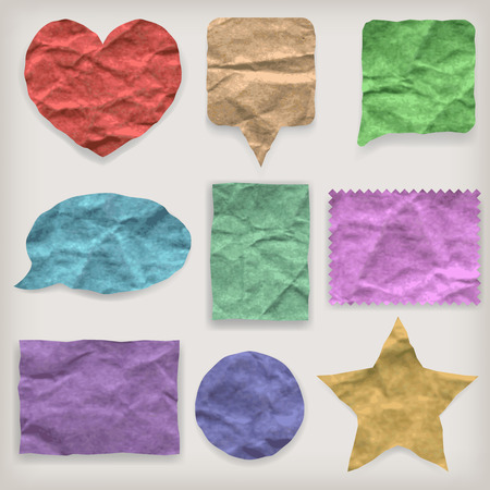 Labels or symbols of colored crumpled paper of various shapes