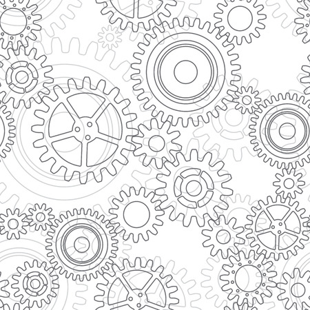 Seamless pattern of gear wheels in gray colors Vettoriali