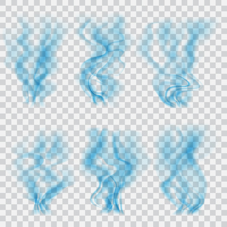 blue smoke: Set of translucent blue smoke on transparent background. Transparency only in vector format Illustration