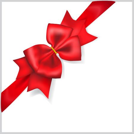 diagonally: Beautiful red bow with diagonally ribbon Illustration
