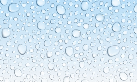 Background of water droplets on the surface in light blue colors