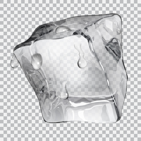 Transparent ice cube with water drops in gray colors Illustration