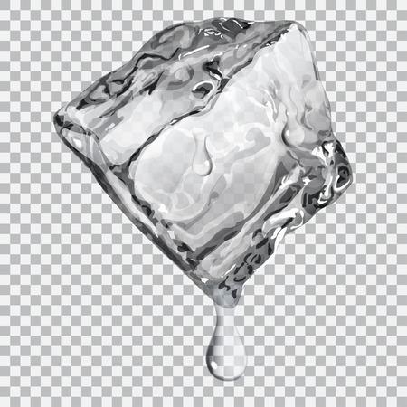 cubos de hielo: Cubo de hielo transparente con gotas de agua en colores gris Vectores