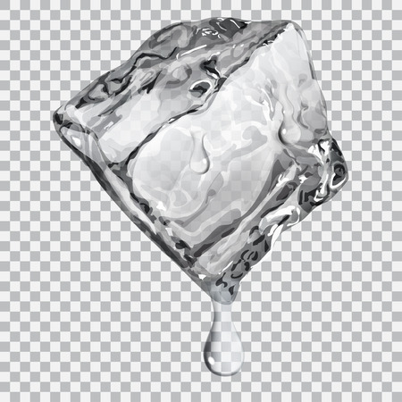 Transparent ice cube with water drops in gray colors Ilustração