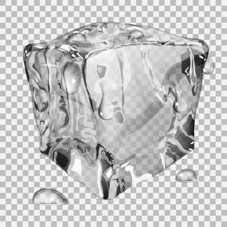 refrigerate: Cubo de hielo transparente con gotas de agua en colores gris Vectores