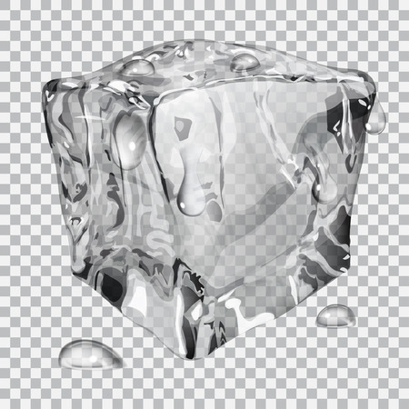 refrigerate: Transparent ice cube with water drops in gray colors Illustration