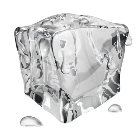 refrigerate: Cubo de hielo opaco con gotas de agua en colores gris