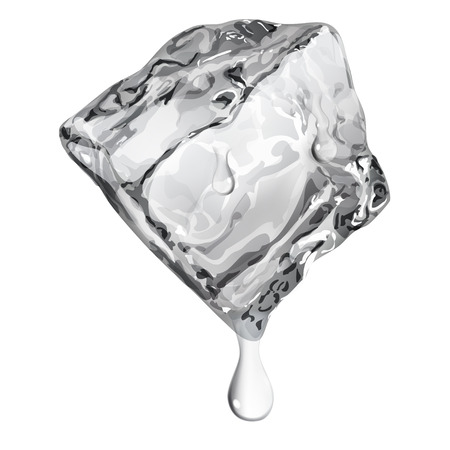 refrigerate: Opaque ice cube with water drops in gray colors Illustration