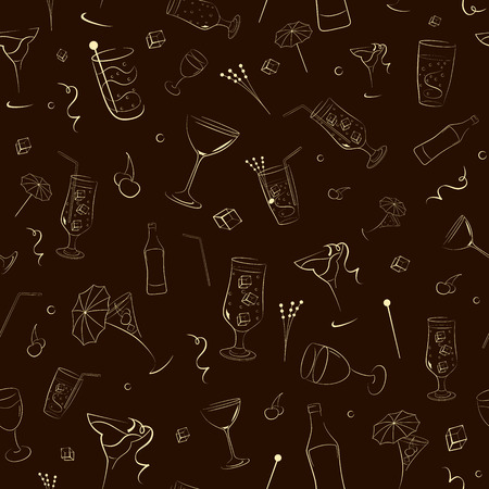 associated: Seamless pattern of bottles, glasses and other items associated with alcohol Illustration