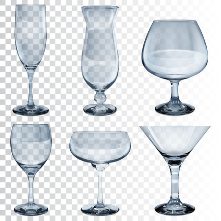 cognac: Set of empty transparent glass goblets for wine, cocktail, champagne and cognac. In light blue color