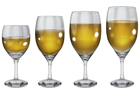 opaque: Set of opaque glass goblets of different sizes with white wine