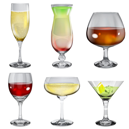 Set of opaque glass goblets with wine, cocktail, champagne and cognac