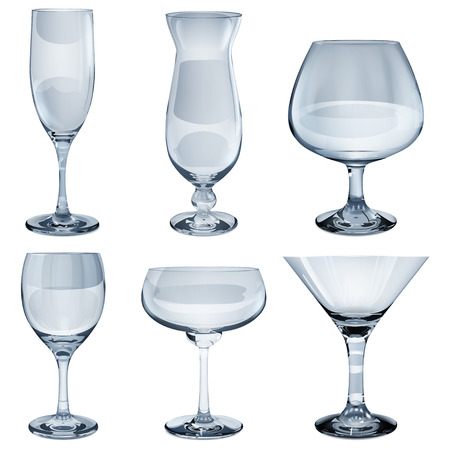 opaque: Set of empty opaque glass goblets for wine, cocktail, champagne and cognac. In light blue color