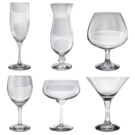 opaque: Set of empty opaque glass goblets for wine, cocktail, champagne and cognac