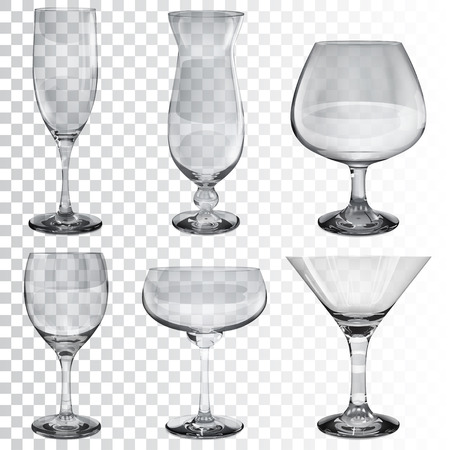 tumbler: Set of empty transparent glass goblets for wine, cocktail, champagne and cognac