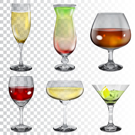 Set of transparent glass goblets with wine, cocktail, champagne and cognac