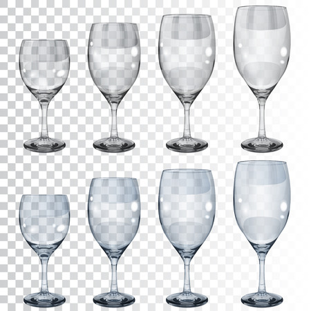 tumbler: Set of empty transparent glass goblets of different sizes for wine. In gray and light blue colors Illustration