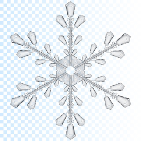 copo de nieve: Copo de nieve transparente grande de color gris. Transparencia sólo en archivo vectorial Vectores