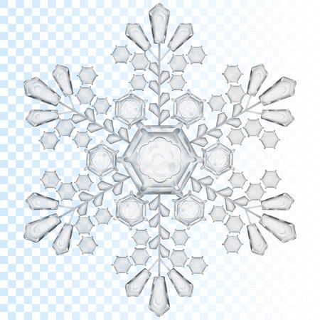 Grote transparante sneeuwvlok in grijze kleur. Transparantie alleen in vector-bestand