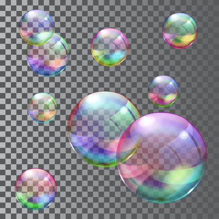 Set of multicolored transparent soap bubbles. Transparency only in vector file 矢量图像