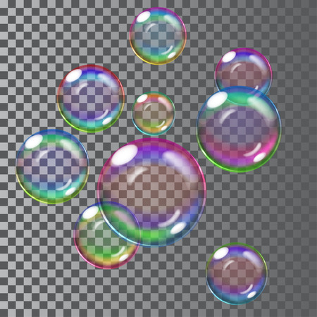 Set of multicolored transparent soap bubbles. Transparency only in vector file 일러스트