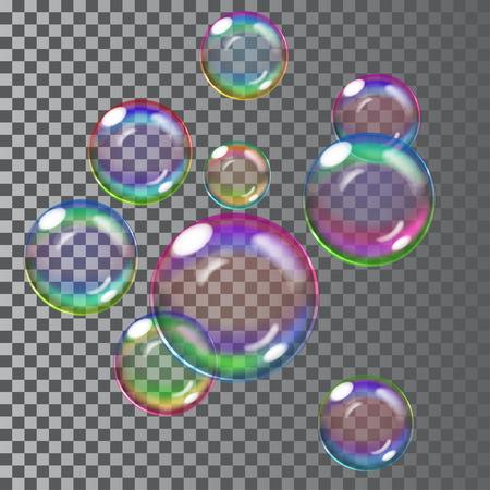 Set of multicolored transparent soap bubbles. Transparency only in vector file Illusztráció