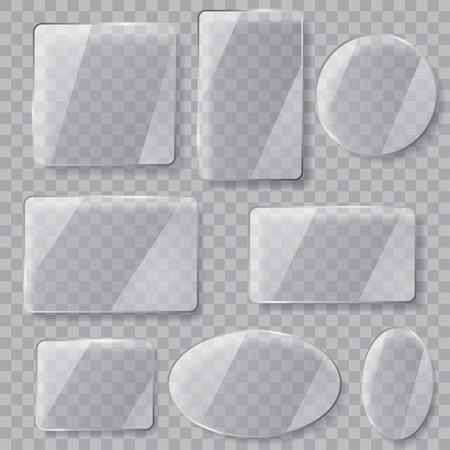 vidrio: Conjunto de placas de vidrio transparentes de diferentes formas. Transparencia sólo en archivo vectorial