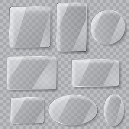 effects: Set of transparent glass plates of different shapes. Transparency only in vector file