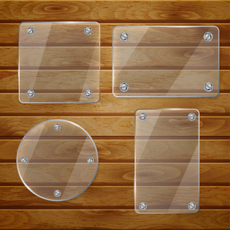 bolted: Set of transparent glass plates of different shapes, bolted to wooden planks
