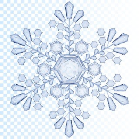 transparency color: Big transparent snowflake in light blue color. Transparency only in vector file Illustration